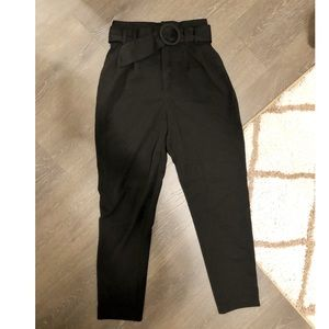 Zara black cigarette pants with belt